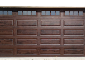 New Insulated Garage Door with Walnut Accents Finish