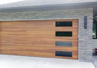 Beautiful Cedar Planks Garage Door with Tinted Glass